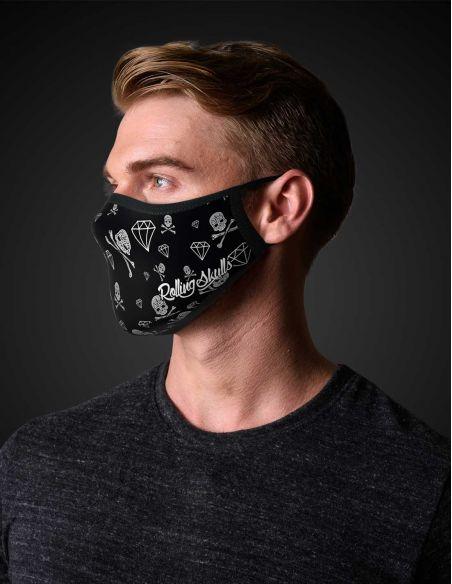 Reusable face mask - 2 layers- design Diamonds